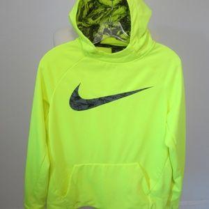 Boys NIKE Dri-Fit Neon Yellow Hoodie Size XL